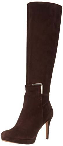 Nine West Women'S Evah Suede Riding Boot Boot,Dark Brown,8 M Us