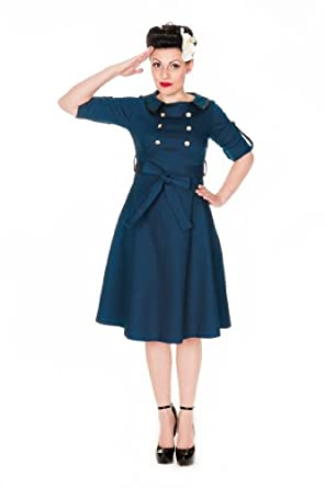 Lindy Bop 'Velma' Vintage WW2 1940 double breasted robe de thé militaire (36, Bleu Ardoise)
