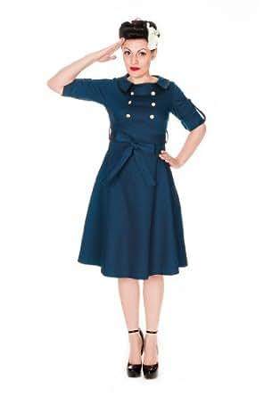 Lindy Bop 'Velma' Vintage WW2 1940 double breasted robe de thé militaire (40, Bleu Ardoise)