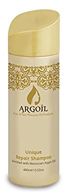ARGOIL Unique Repair Shampoo Enriched with Moroccan Argan Oil + Keratin + Anti-Oxidants 13.52 oz - No Sulfates, Phosphates & Paraben - Special Formula Cleans, Strengthens, Shines & Softness the Hair
