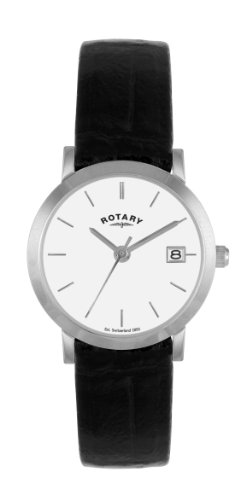 Rotary LS02622/02 Ladies Stainless Steel Watch with Black Leather Strap