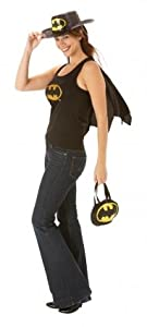 Costume Fancy Dress Ladies Womens Outfit Adult Party Batgirl Top Cape Size 12-14