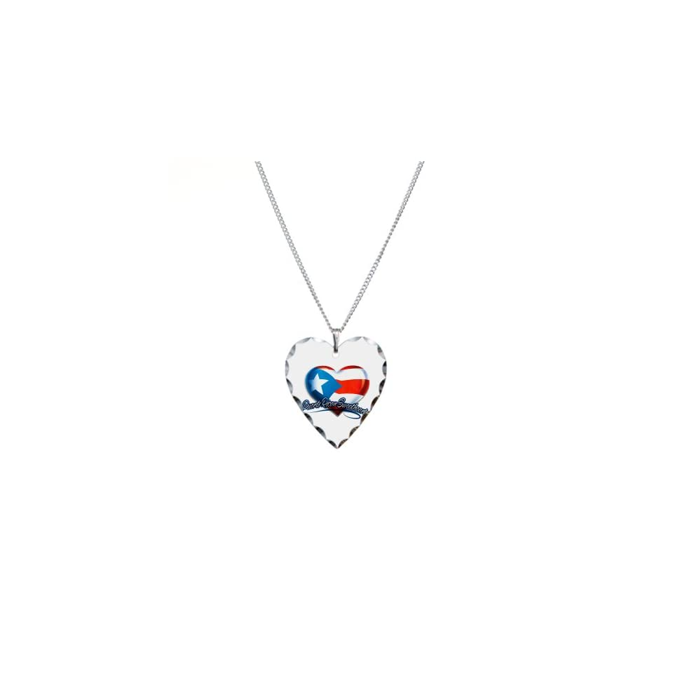 Necklace Heart Charm Puerto Rican Sweetheart Puerto Rico Flag
