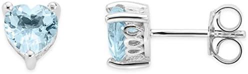 Byjoy 925 Sterling Silver Heart Shape Sky Blue Topaz Stud Earrings BAE394E