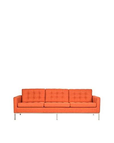 LeisureMod Modern Lorane Twill Wool Sofa, Orange