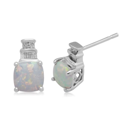 Sterling Silver and Cushion Created Opal Diamond Earrings