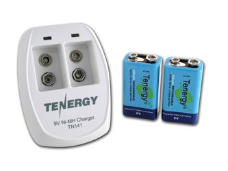 Tenergy TN141 2 Bay 9V Smart Charger with 2 pcs 9V 250mah NiMH Rechargeable Batteries