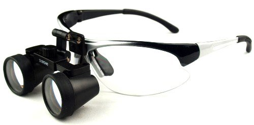 "Featured On ""Bones"" -- Dental Surgical Medical Binocular Loupes -- 2.5X420Mm Working Distance -- Flip Up Silver Sports Frame"