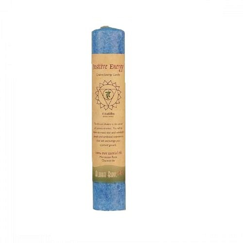 Aloha Bay Chakra Pillar Candle, Positive Energy Blue