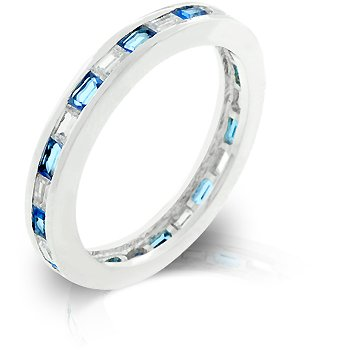 White Gold Rhodium Bonded Stacker Eternity Ring featuring Channel Set Sapphire Cubic Zirconia in Silvertone