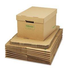 NEW - R-Kive Storage Box, Letter/Legal, Locking Lift-off Lid, Kraft/Green, 12/Carton - 12775