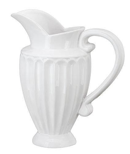 Napco Ceramic White Scalloped Pitcher, 7.5