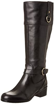 Bandolino Womens Chamber Wide Calf Riding Boot ,Black Leather,5 M US