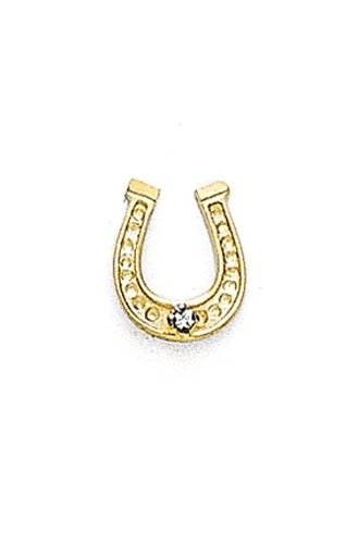 14K Yellow Gold Horse Shoe Tie Tac with a Diamond-88674