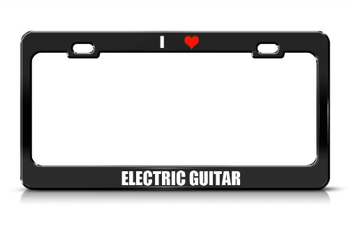 Electric Guitar Music Musical Instrument Black Metal License Plate Frame Tag Border
