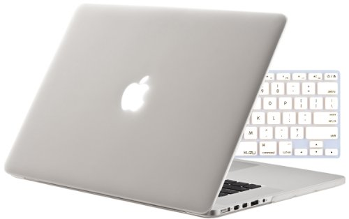 """Kuzy - 2in1 White/Clear Rubberized Hard Case and Keyboard Cover for Apple  MacBook Pro 15.4"""" with Retina Display 15-Inch Model: A1398 (NEWEST VERSION)  - White/Clear Frost - Rayvesumwar"""