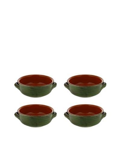 "COLI Set of 4 Italian Stoneware 6"" French Soup Bowls, Cilantro Green"