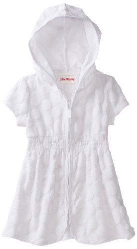 Flapdoodles Girls 2-6X Naydeen Hoodie Cover Up, White, 2T