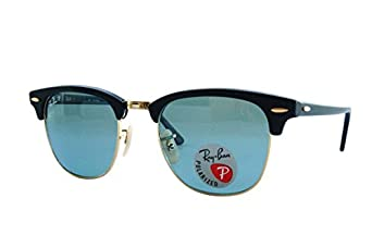 Ray-Ban mens 0RB3016 901S3R51 Polarized Clubmaster Sunglasses,Matte Black,51 mm