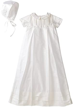 Kitestrings Baby-Boys Newborn Silk Christening Gown And Bonnet Set, White, 3-6 Months
