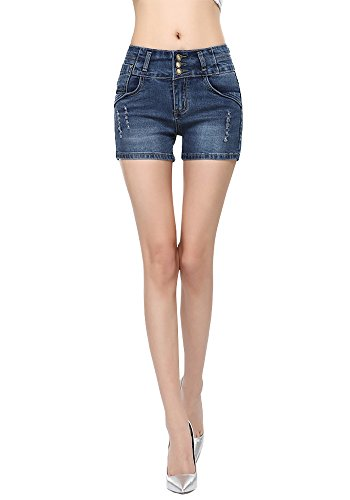 DAIJEAN Womens High Waist Elastic Denim Curled Short Jeans (10 (Asia 30))
