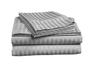 Cheapest Price! ITALIAN 1500 Thread Count STRIPED 4PC QUEEN Sheet Set, GREY