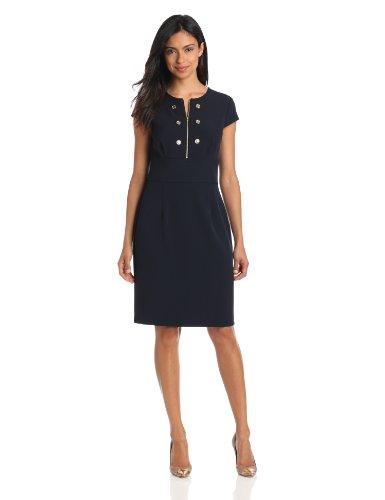 Sandra Darren Women's Cap Sleeve Dress With Buttons, Navy, 16