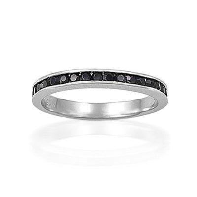 Bling Jewelry Sterling Silver Black CZ July Birthstone Eternity Ring