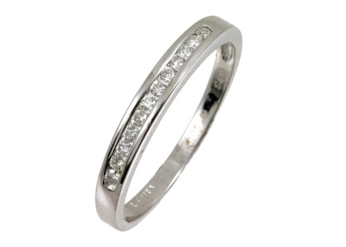 Eternity Ring, 9ct White Gold Diamond Ring, Channel Set, 0.15 Carat Diamond Weight