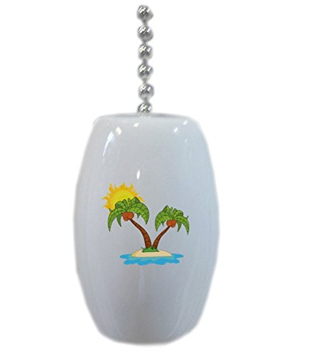 Palm Trees And Sun Ceramic Fan Pull front-983467
