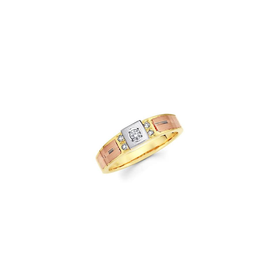 Size  12   14k Yellow Tri 3 Color Gold Diamond Wedding Ring Band .11 ct (G H Color, I1 Clarity)