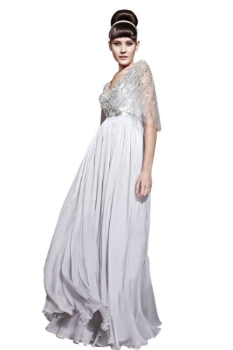 CharliesBridal V-Neck Sequin Floor Length Evening Dress with Cap Sleeve - XL - Grey