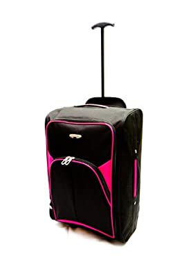 In flight Cabin Bag | Trolley Luggage Suitcase | Lightweight | Suitable for Most Airline's - Easy Jet/Ryan Air/BMI Baby | Black & Pink