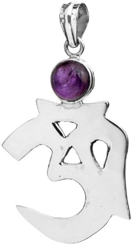 Sterling OM (AUM) Pendant with Gems - Sterling Silver - Color Amethyst