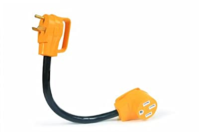 """Camco 55185 PowerGrip 30M/50F AMP 18"""" Dogbone Electrical Adapter with Handles 3750W/125V"""