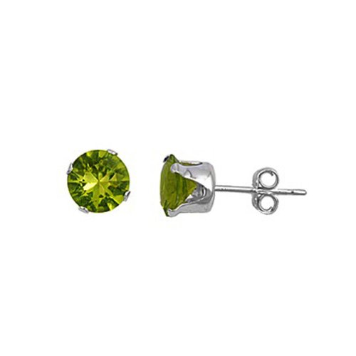 .925 Sterling Silver Olive Color Round Cz Stud Earrings (8)mm