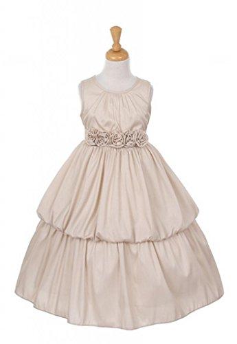 Kiki Kids Flower Girl Dress Dupiony Dress With 5 Roses On Waist 2 Mocha