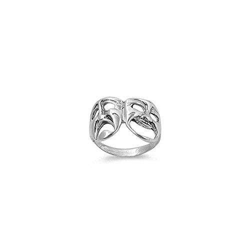 Noureda Sterling Silver Modish Smile Now Cry Later Ring with Face Height of 13MM (Smile Now Cry Later Ring compare prices)
