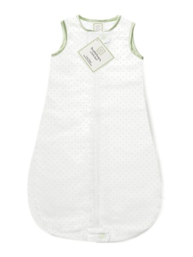 SwaddleDesigns zzZipMe Sack with 2-Way Zipper, Cotton Flannel Wearable Blanket, Classic Polka Dots in Kiwi 6-12 Months