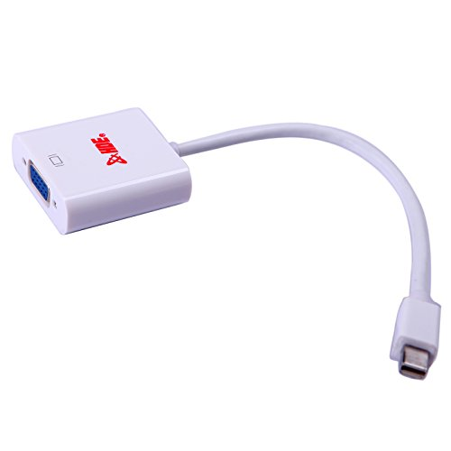 HDE Mini DisplayPort Male to VGA Female Adapter Cable Converter for MacBook Laptop & Windows PC - Thunderbolt Compatible (White)