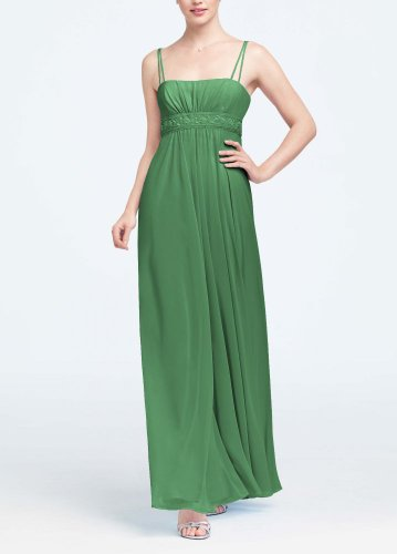 David's Bridal Bridesmaid Dresses Spaghetti Strap Chiffon Dress with Beaded Empire Style F12495