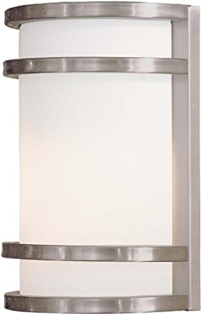"""The Great Outdoors GO 9801-PL 1 Light 9.5"""" Height Fluorescent ADA Compliant Outd, Brushed Stainless Steel"""