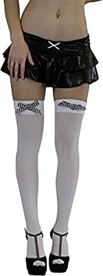 ToBeInStyle Women's Opaque Thigh High Stockings with Stylish Checker Bow
