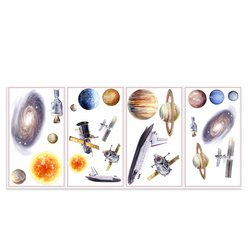 Outer Space Astronaut Planet Wall Appliques Wallpaper Stickers
