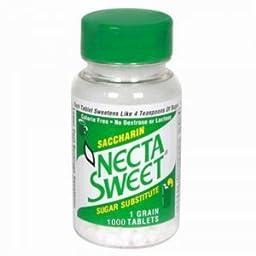 Necta Sweet Saccharin Tablets, 1 Grain, 1000 Tablet Bottle (Pack of 10)