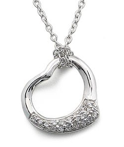 CUBIC ZIRCONIA NECKLACES - Sterling Silver Open Heart Pave CZ Necklace