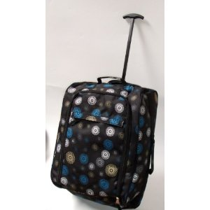 Black Spiral Borderline 2 Wheeled Super Lightweight Hand Luggage Holdall Cabin Bag Suitable For Easy Jet, Jet2, Ryanair, Monarch, First Choice, British Airways, Thompson by Borderline