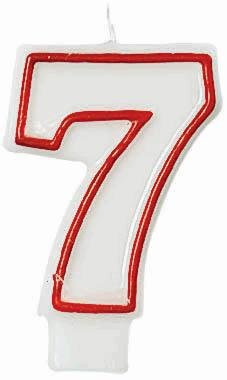 "Amscan Numerical Celebration Candle - Number Seven #7, White/Red, 3"" - 1"
