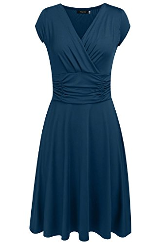 Finejo Women's V-Neck Casual Vintage Ruched Waist Cocktail Swing Party Dress Lake Blue X-Large
