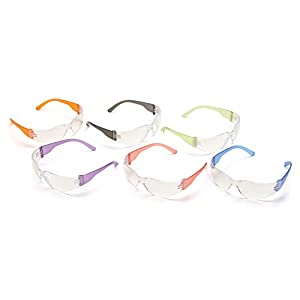 12-Pack Clear Lenses, Safety Goggle, Scratch, Impact, and Ballistic Resistant, Red, Blue, Green, Purple, Orange, and Black